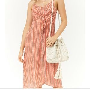 Forever 21 Wavy Striped Button Front Dress